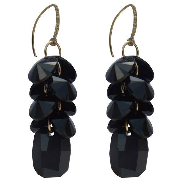 Handmade Gold-filled Crystal Jet Black Disc Cluster Drop Earrings