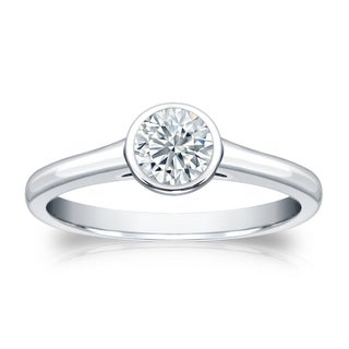 Auriya Platinum 1/2ct TDW Round-cut Diamond Bezel Solitaire Engagement Ring (H-I, SI1-SI2)