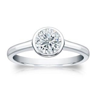 Auriya Platinum 3/4ct TDW Round-cut Diamond Bezel Solitaire Engagement Ring (H-I, SI1-SI2)