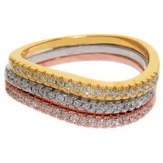 Eternally Haute Tri-color Sterling Silver Pave Cubic Zirconia Stackable Sway Rings