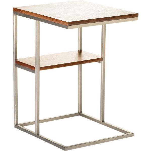 Aurelle Home Roof Two Level Stainless Steel End Table