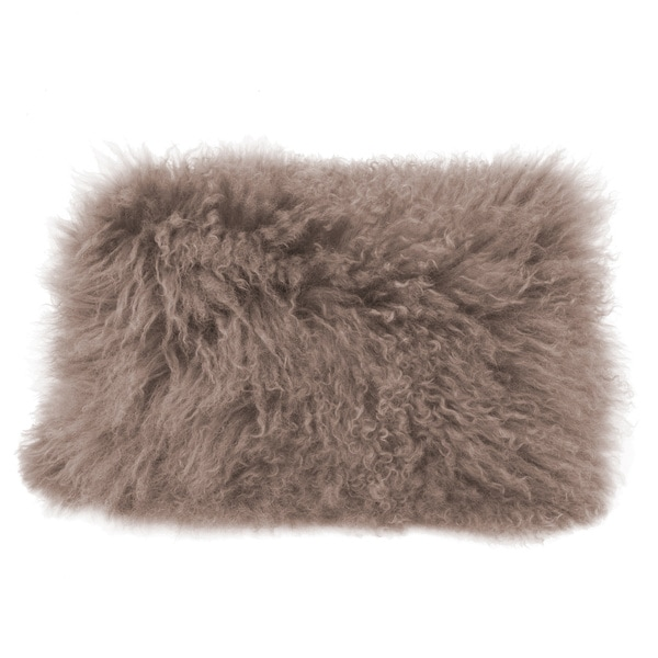 Aurelle Home Lamb Faux Fur Rectangular 20 x 16-inch Throw Pillow