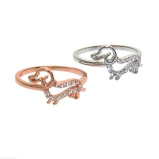 Eternally Haute Solid Sterling Silver Pave Cubic Zirconia Dachshund Dog Ring
