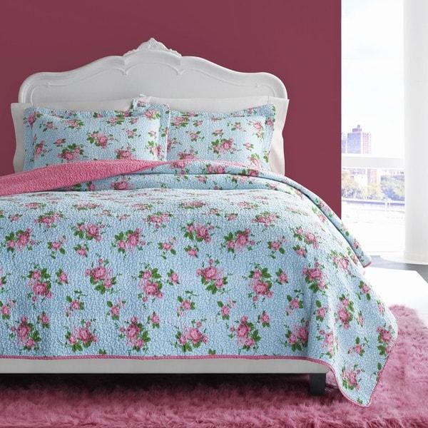 Betsey Johnson Leopard Floral 3 Piece Quilt Set 17365938