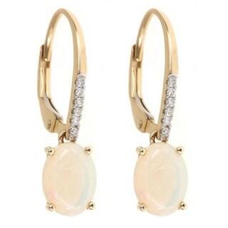 Anika and August 14k Yellow Gold Oval-cut Australian Opal and Diamond Earrings