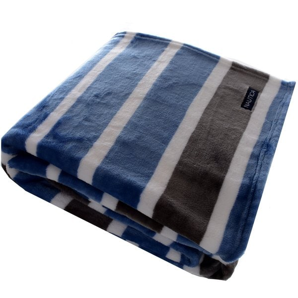 Nautica Veradero Stripe Ultra Soft Plush Throw