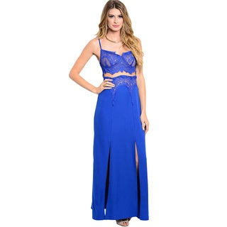 Shop The Trends Women's Spaghetti Strap Maxi Dress with Laced Bodice and Slitted Skirt
