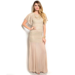 Shop The Trends Women's Short Sleeve Mermaid Silhouette Dress with Rounded Neck and Long Line Chiffon Hem
