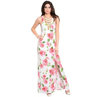 Shop The Trends Women's Sleeveless Maxi Dress with Allover Floral Print and Thigh High Slit