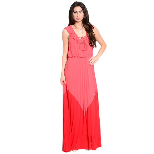 Shop The Trends Women's Sleeveless Woven Maxi Dress with Ruffled Detail Along Lace-up Yoke