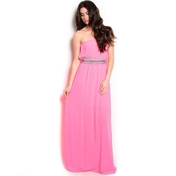 Shop The Trends Women's Strapless Chiffon Maxi Dress with Blouson Bodice and Embellished Waistband