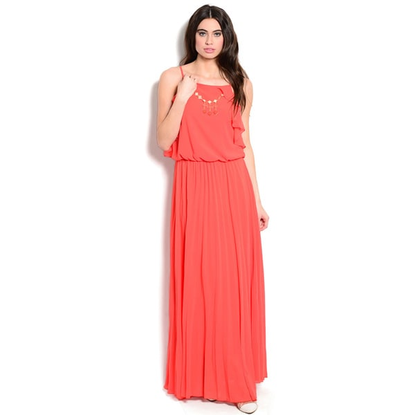 Shop The Trends Women's Spaghetti Strap Maxi Dress with Ruffled Detail On Blouson Bodice