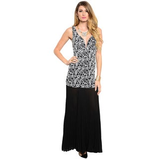 Shop The Trends Women's Sleeveless Combination Dress with Laced Bodice and Pleated Chiffon Bottom
