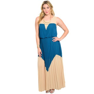 Shop The Trends Women's Plus Size Sleeveless Two-tone Maxi Dress with Illusion Neckline