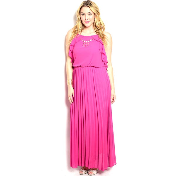 Shop The Trends Women's Plus Size Spaghetti Strap Maxi Dress with Blouson Bodice and Ruffle Detail Along Sides