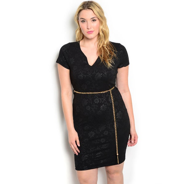 Shop The Trends Women's Plus Size Short Sleeve Bodycon Dress with V-neckline and Gold Chain Belt