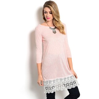 Shop The Trends Women's 3/4 Sleeve Slub Knit Top with Longline Scalloped Lace Hem