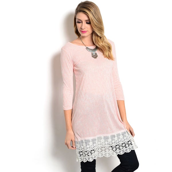 Shop The Trends Women's 3/4 Sleeve Slub Knit Top with Longline Scalloped Lace Hem