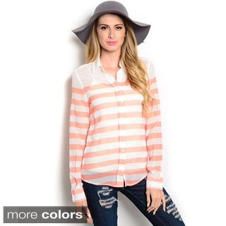 Shop The Trends Women's Sheer Striped Button-Down