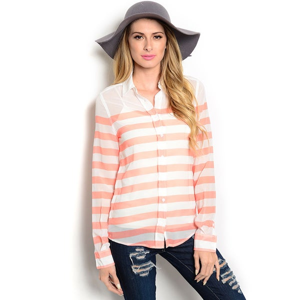 Shop The Trends Women's Long Sleeve Sheer Woven Striped Top with Pointed Collar