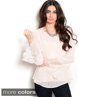 Shop The Trends Women's Long Sleeve Chiffon Top with Scalloped Lace Bell Sleeves