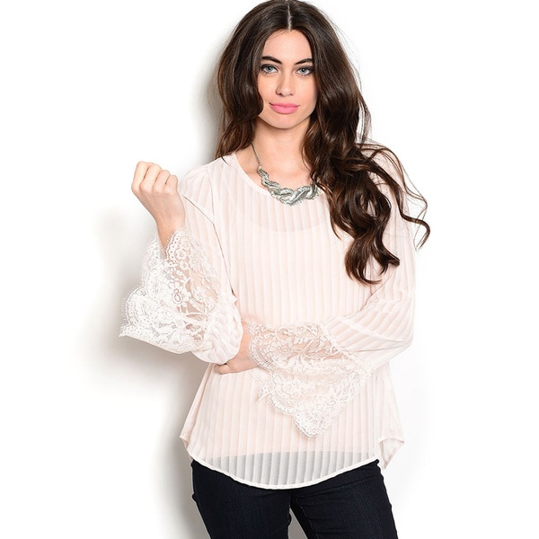 Shop The Trends Women's Long Sleeve Pleated Chiffon Top with Bell Sleeves with Scalloped Lace Trim