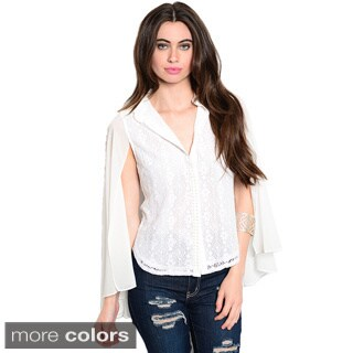 Shop The Trends Women's Long Sleeve Lace Button Up Top with Chiffon Batwing Sleeves