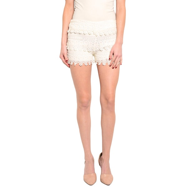 Shop The Trends Women's Flirty Crochet Shorts with Scalloped Tiered Details