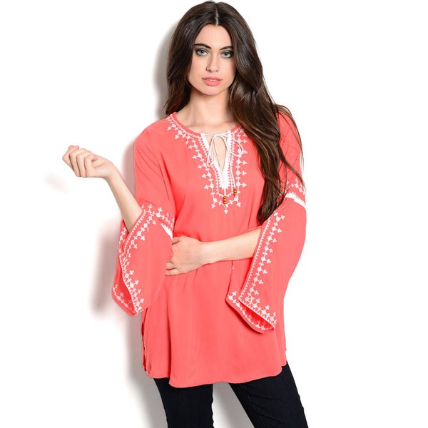 Shop The Trends Women's Long Sleeve Woven Bell Top with Contrast Colored Embroidery