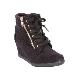 Coshare Women's Fashion Peggy-63 Suede PU Quilting Design Ankle High Wedge Sneakers