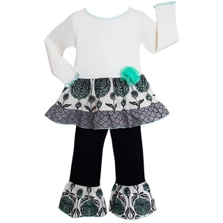 AnnLoren Boutique Girls' Blue Floral Lattice 2-piece Tunic/ Pants Outfit