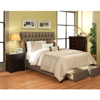 Cambridge Char-Brown 2 Drawer Upholstered Platform Storage Bed