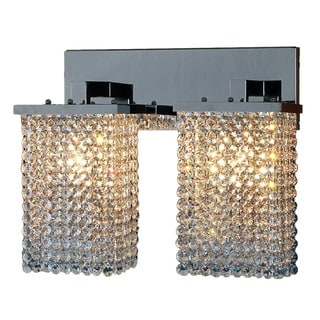 Prism Collection 2-light Chrome Finish Crystal Vanity Wall Sconce Light