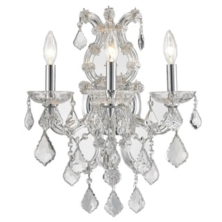 Lyre Collection 3 Light Chrome Finish and Clear Crystal Candle Wall Sconce Light