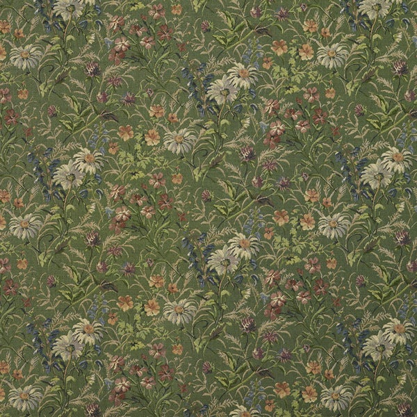 H141 Green Burgundy Blue Garden Floral Tapestry Upholstery Fabric (By The Yard)