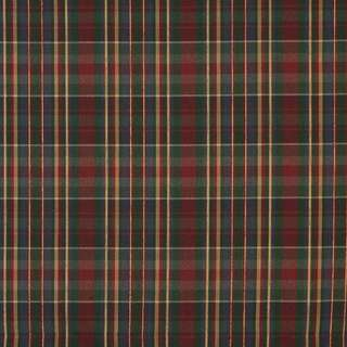 H479 Red Green Gold and Blue Textured Plaid Upholstery Grade Fabric (By The Yard)
