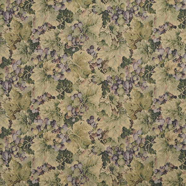 H850 Green and Purple Floral Leaf Tapestry Upholstery Fabric (By The Yard)
