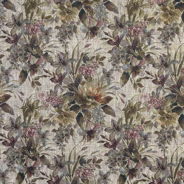 J121 Blue Pink and Green Floral Tapestry Upholstery Fabric (By The Yard)