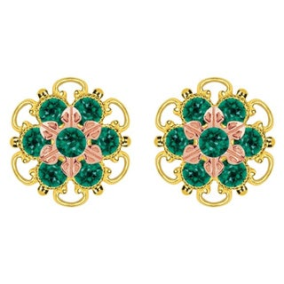 Lucia Costin Gold Over Silver Green Crystal Stud Earrings