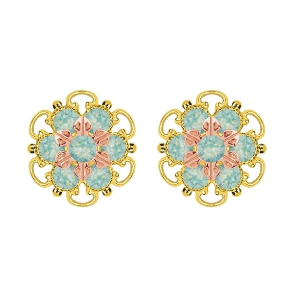 Lucia Costin Gold Over Silver Mint Blue Crystal Stud Earrings