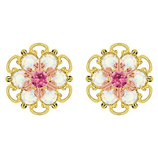 Lucia Costin Gold Over Silver Pink White Crystal Stud Earrings