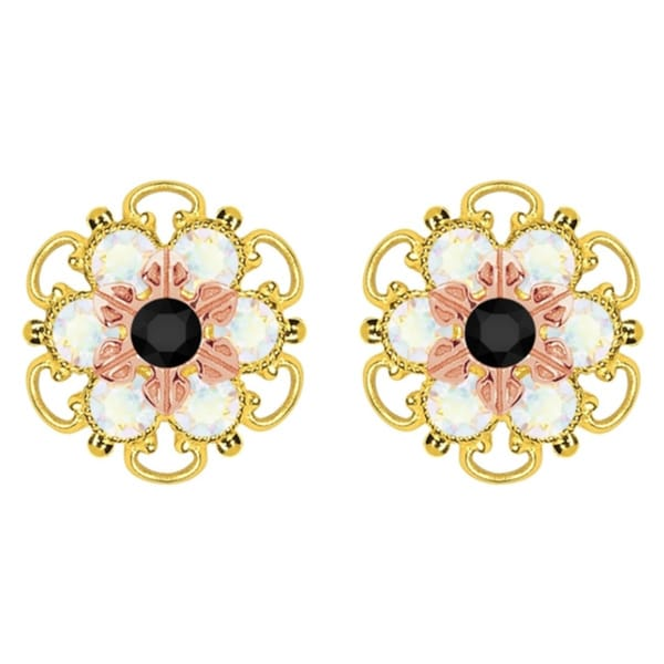 Lucia Costin Gold Over Silver Black White Crystal Stud Earrings