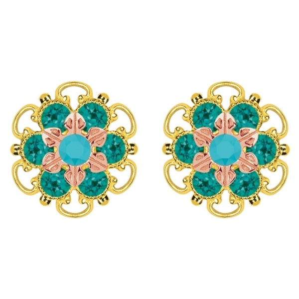 Lucia Costin Gold Over Silver Turquoise Green Crystal Stud Earrings