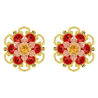 Lucia Costin Gold Over Silver Yellow Red Crystal Stud Earrings