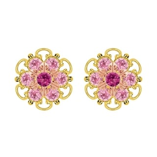Lucia Costin Gold Over Silver Fuchsia Light Pink Crystal Stud Earrings