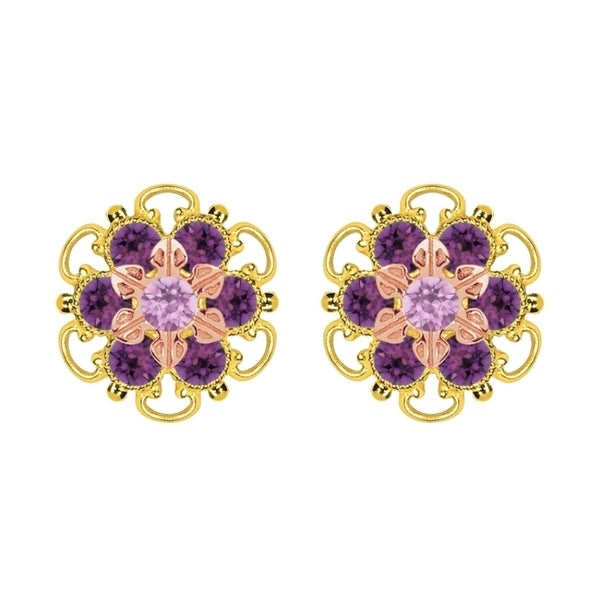 Lucia Costin Gold Over Silver Lilac Violet Crystal Stud Earrings