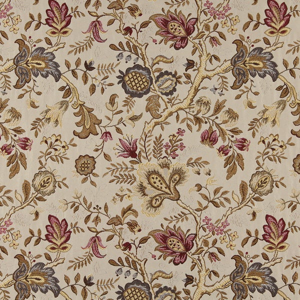 C660 Red Gold Beige Brown Flowers Leaves Vibrant Upholstery Fabric 15602731