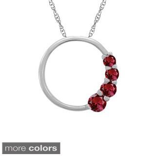 10k Gold Round-cut Birthstone Circle Necklace