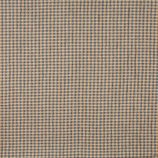 J740 Blue Beige Orange and White Check Southwest Upholstery Fabric (By The Yard)