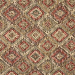 J764 Green Gold and Red Diamond Southwest Lodge Upholstery Fabric (By The Yard)